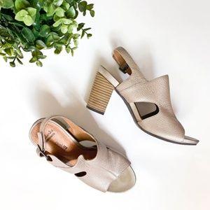 Clarks Gold Silver Wooden Block Heel Sandals